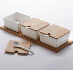 American Metalcraft Jar Set with Wood Tray - Porcelain Jars/Lids American Metalcraft, Kitchen Containers, Jar Lids, Jars, Kitchen Organization, Kitchen Organizers, Wood Tray, Mexican Style, Canisters