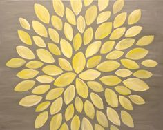 Yellow White Painting - Modern Original Leaf Design - 16x20 Canvas Art by Jessica Kime. $95.00, via Etsy.