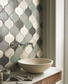 (via EGET ROM) Modern sink, Moroccan tiles. @S. C. Studio NYC #modern #bathroom #tile #patterns
