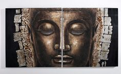 Buddha in Bronze - Oil Painting - Hand painted oil painting on canvas for modern home decoration.