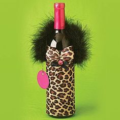 Leopard Bottle Babes: Wine Bottle Cover: Dress Up Beverage Container Sleeve by Rickshaw. $15.98. Dress up your table or bar for girls' night, bachelor party, holidays, etc.. Makes a great hostess gift, too! Gift tags included.. Slip a fancy sleeve over your bottle of wine (or liquor) and turn it into a fashionista, complete with boa, bling AND boobs! Dress up your table or bar for girls' night, bachelor party, holidays, etc. Makes a great hostess gift, too! Gift tags included.