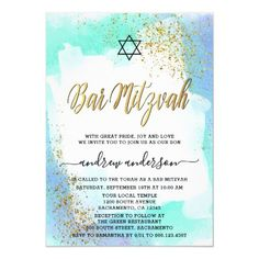 Elegant Blue And Gold Watercolor Bar Mitzvah Invitation - tap, personalize, buy right now! Elegant Invitations, Custom Invitations, Party Invitations, Bar Mitzvah Invitations, Gold Watercolor, Bat Mitzvah, White Envelopes, Paper Design, Reception