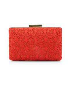 #AdoreWe #VIPme Clutches - CAIYUE Red Elegant Lace Pattern Buckle Lock Square Banquet Clutches - AdoreWe.com