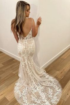 Stella York Boho Wedding Dress with Illusion Lace, Spaghetti Straps, Vining Floral Lace and Lightweight Sweep Train. Fitted Wedding Gown, Wedding Dresses With Straps, Boho Wedding Dress, Designer Wedding Dresses, Wedding Gowns, Lace Wedding, Stella York, Boho Bride, Floral Lace