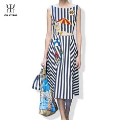 Aliexpress.com : Buy Navy Striped Dress Badges Embroidered Striped Dress Summer Women Sleeveless Knee length Flower Sequin Dress O Neck Embroidery from Reliable dresse suppliers on JYJ STUDIO
