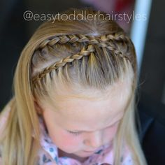 """674 Likes, 29 Comments - Tiffany ❤️ Hair For Toddlers (@easytoddlerhairstyles) on Instagram: """"Dutch lace headband braids are one of my favorite styles so we mixed it up today and it turned out…"""""""