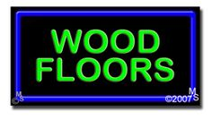 "Wood Floors Neon Sign - 20"" x 37""-ANS1500-6558-R  37"" Wide x 20"" Tall x 3"" Deep  Flashing Border ""ON/OFF"" switch  Sign is mounted on an unbreakable black or clear Lexan backing  Top and bottom protective sides  110 volt U.L. listed transformer fits into a standard outlet  Hanging hardware & chain included  6' Power cord with standard transformer  For indoor use only  1 Year Warranty on electrical components."