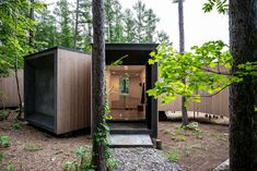 Florian Busch embeds branch-shaped holiday home in Japanese forest Forest Floor, Forest House, Concrete Steps, Concrete Floors, Shade Screen, Forest Pictures, Timber House, Front Entrances, Polished Concrete