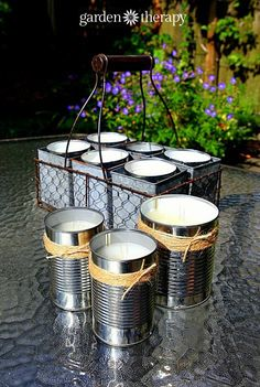 DIY Tutorial on How to Make Citronella Candles for the garden. Great recycling project.
