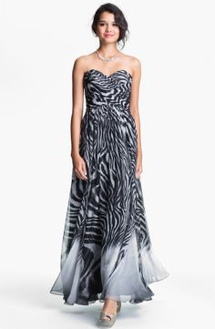 Print Strapless Chiffon Evening Dress