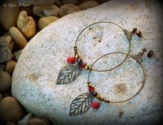 Boucles d'oreilles créoles rouges et dorées à par LesBijouxDeMarie
