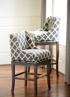 Gray and cream upholstered barstools