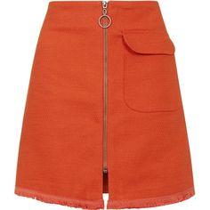 TOPSHOP Textured Fringe Hem Mini Skirt (3.800 RUB) ❤ liked on Polyvore featuring skirts, mini skirts, tomato, cotton skirt, short skirts, red skirt, fringe skirt and zipper skirt