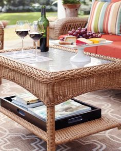 Keep it natural with this wicker coffee table. Once again, this all-weather, rust-resistant steel frame offers long-lasting performance. With a hand-woven design and a tempered glass tabletop, this is the table your patio's been dreaming of. Purchase it here.