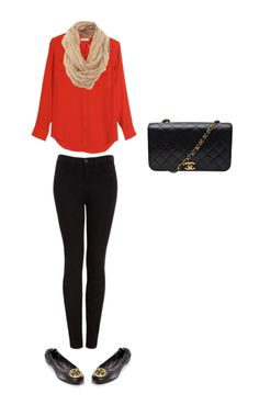 coral blouse, black skinny jeans, flats.