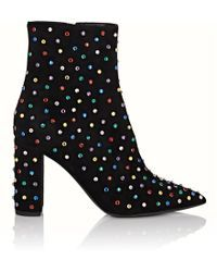 02b346542dd6 Saint Laurent - Betty 95 Ankle Boots In Black Suede And Multicolored  Crystals - Lyst Black