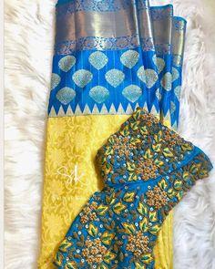 New blouse designs indian bridal blue ideas Wedding Saree Blouse Designs, Half Saree Designs, Stylish Blouse Design, Silk Saree Blouse Designs, Fancy Blouse Designs, Blouse Neck Designs, Silk Sarees, Wedding Blouses, Sari Blouse