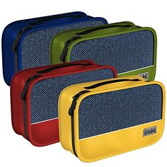 4-piece set of Small Packing Cubes in Assorted Colors: Red, Yellow, Green, Dark Blue For more information, visit: http://dotdottravel.com/smallcubes