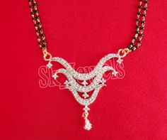 1.15ctw NATURAL DIAMOND 14K WHITE GOLD WEDDING ANNIVERSARY MANGALSUTRA #Sk_Jewels #MANGALSUTRA