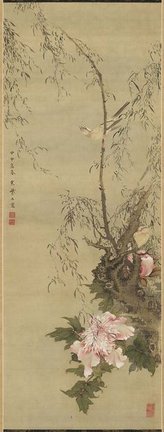 Willow, Flower, and Bird  Japanese Edo period 1764 (Meiwa 1), Spring Sô Shiseki (Japanese, 1712–1786)