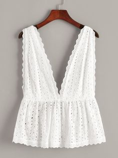 To find out about the Plus Eyelet Embroidery Deep V Neck Backless Top at SHEIN, part of our latest Plus Size Tank Tops & Camis ready to shop online today! Diy Clothes, Fashion Clothes, Fashion Outfits, Clothes For Women, Womens Fashion, Fashion Trends, Mode Top, Backless Top, Plus Size Tank Tops