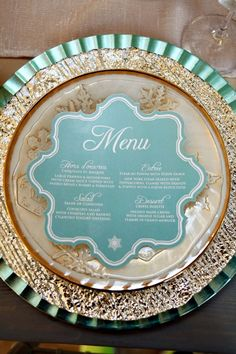Glamorous gold and aqua themed place setting