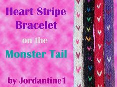 Heart Stripe Bracelet made on the Monster Tail - Rainbow Loom