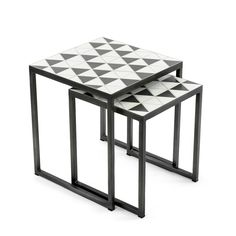 These Box Frame Nesting Tables have ceramic tiles which are carefully inlaid by hand, set on slim metal frame. Mosaic Furniture, Furniture Design, Cement Table, Metal Side Table, Side Tables, Steel Furniture, Moroccan Decor, Nesting Tables, Box Frames
