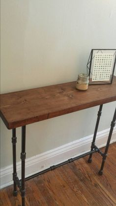 Wood and pipe console table rustic console by PipeAndWoodDesigns