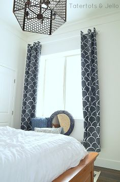 large scallop stenciled fabric curtains