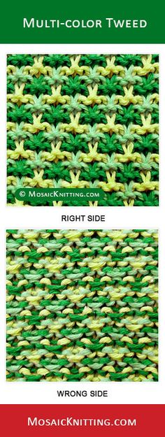 MosaicKnitting.com - Knit the tweed-slip-stitch stitch. Free written instructions