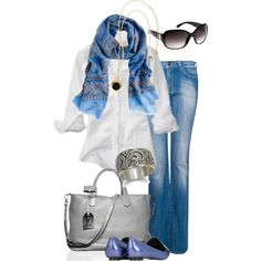 """""""Blue Paisley Scarf"""" by simple-wardrobe on Polyvore"""