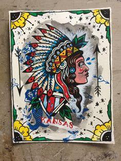 Original artwork, paint and mixed media on paper, Native American tattoo flash, Kansas, Americana, folk art by GlovesbyEllenGreene on Etsy