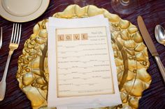 scrabble inspired wedding madlibs from Shannon & Jeremy's fairy tale inspired, rustic purple wedding in Leesburg, VA
