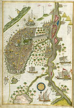 A map of Egypt  by Ottoman admiral and cartographer Piri Reis in Kitab-i Bahriye, 16 century.