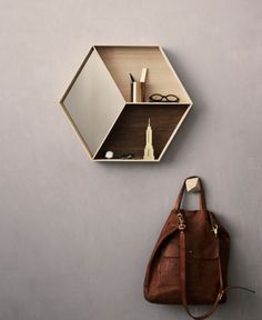 Ferm Living - Wall Wonder with mirror - Maple.  Hexagon.
