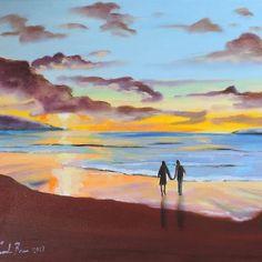 Romantic painting, couple at the beach Art Print by Gordon Bruce art - X-Small Beach Sunset Painting, Watercolor Sunset, Beach Art, Watercolour, Watercolor Paintings, Beach Sketches, Poster Color Painting, Beach Drawing, Canvas Art