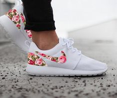 Nike Roshe White with Custom Pink Rose Floral Print