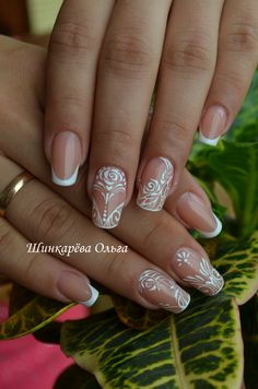 @pelikh- белый  Шинкарева Ольга Nail Polish Art, Gel Nail Art, Bride Nails, Wedding Nails, Fingernail Designs, Nail Art Designs, Nail Art Modele, Square Oval Nails, Lace Nails