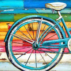 Items similar to Bicycle bike biking cycling ART PRINT or CANVAS Beach ocean coastal home wall decor summer retro vintage gift painting collage, All sizes on Etsy Painting Collage, Collage Art, Mixed Media Collage, Paintings, Fine Art Amerika, Bicycle Art, Bicycle Painting, Bicycle Design, Ecole Art