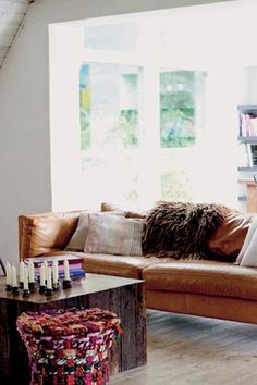 nice space. like the wood floors and the couch and the large windows letting in lots of light