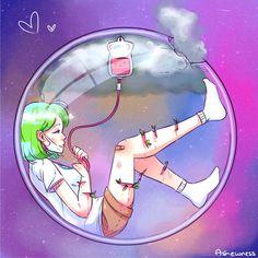 earth-chan still loves you [MILD GORE] by Ashewness. This makes me sad. Kawaii Anime Girl, Anime Art Girl, Anime Shop, Space Anime, Anime Version, Fan Art, Anime Style, Cute Drawings, Cute Art