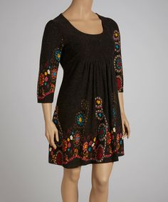 Charcoal Floral Dress - Plus by Reborn Collection #zulily #zulilyfinds