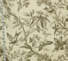 Black toile fabric bird butterfly passion flower from Brick House Fabric: Novelty Fabric