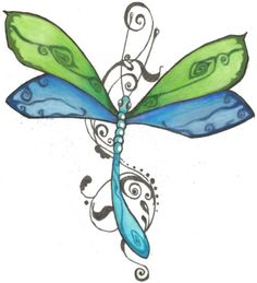 This is not your average dragonfly tattoo! I love the colors & all the swirly scrolling swirls around it!