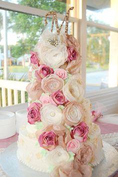 Wedding Cake Fabric Flowers, Cake decorations,Cake Topper, Bridal Shower Cake decor
