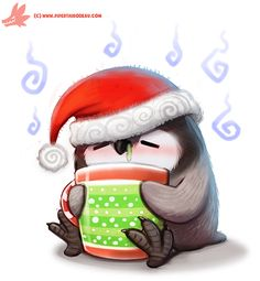 Daily Paint #1126. Holiday Fluuuuuuuuuu by Cryptid-Creations.deviantart.com on @DeviantArt