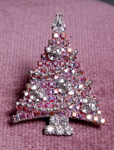 Vintage Signed Kirks Folly Rhinestone Christmas Tree Pin w Dangly Movable RARE