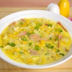 Sopa light cremosa de milho verde e frango