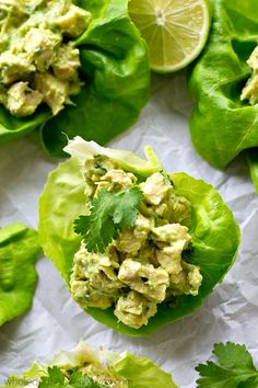 Chicken salad lettuce wraps lightened up with healthy avocado and NO mayonnaise at all! These wraps are going to quickly become a lunch favorite. Grilled Chicken Salad, Avocado Chicken Salad, Chicken Salads, Healthy Chicken, Healthy Dinner Recipes, Healthy Snacks, Paleo Dinner, Healthy Eats, Healthy Protein